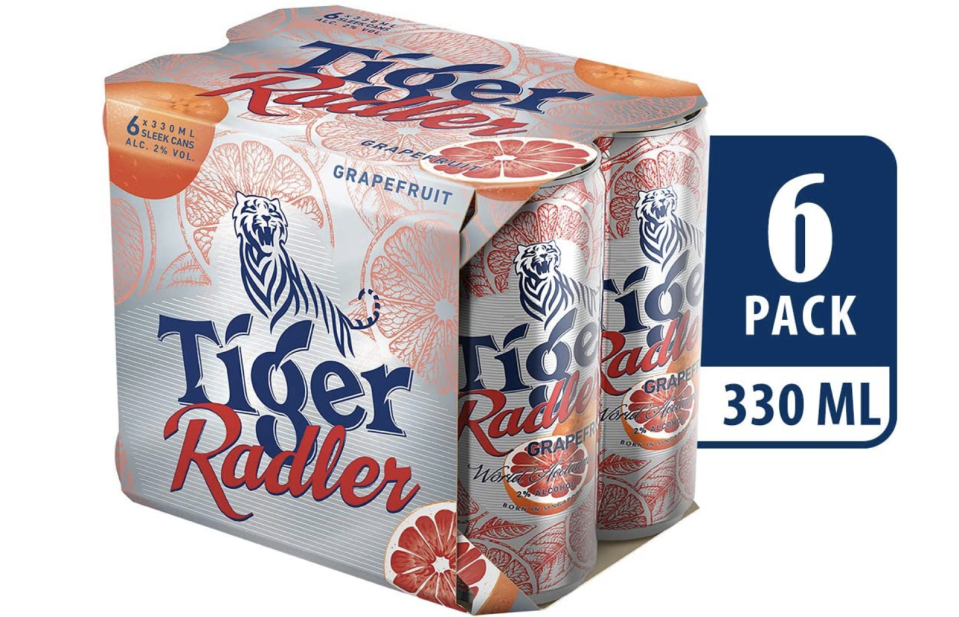Tiger Radler Grapefruit can, 330ml (Pack of 6), S$7.95 (was S$9.90). PHOTO: Amazon