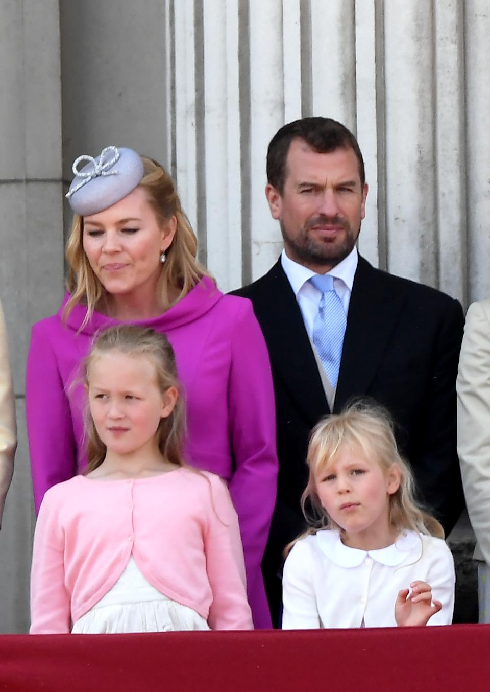 LONDON,  UNITED KINGDOM - JUNE 08:  Autumn Phillips, Peter Phillips and their children Savannah Phillips and Isla Phillips stand on the balcony of Buckingham Palace following Trooping the Colour on June 08, 2019 in London, England. (Photo by Anwar Hussein/WireImage)