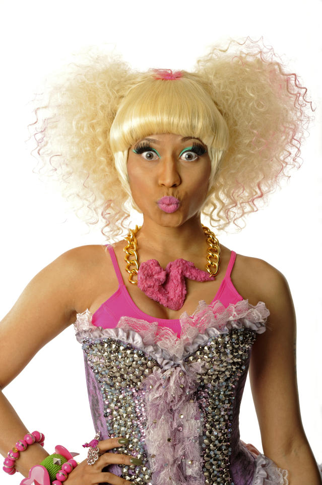 LAS VEGAS, NV - SEPTEMBER 24:  (EXCLUSIVE COVERAGE) Nicki Minaj poses in the portrait studio at the iHeartRadio Music Festival held at the MGM Grand Garden Arena on September 24, 2011 in Las Vegas, Nevada.  (Photo by Kevin Mazur/WireImage)