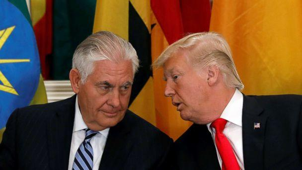 PHOTO: President Donald Trump and Secretary of State Rex Tillerson confer during a working lunch with African leaders during the U.N. General Assembly in New York in this Sept. 20, 2017 file photo. (Kevin Lamarque/Reuters, FILE)