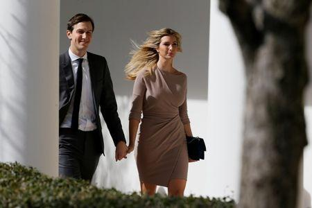 Ivanka Trump and Jared Kushner walk along the colonnade ahead of a joint press conference by Japanese Prime Minister Abe and U.S. President Trump at the White House in Washington
