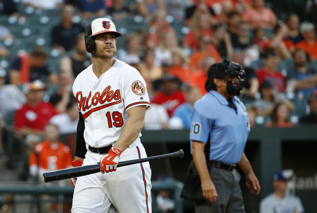 Baltimore Orioles' Chris Davis walks off the field after striking out looking during the second inning of the team's baseball game against the Tampa Bay Rays, Thursday, July 26, 2018, in Baltimore. (AP Photo/Patrick Semansky)