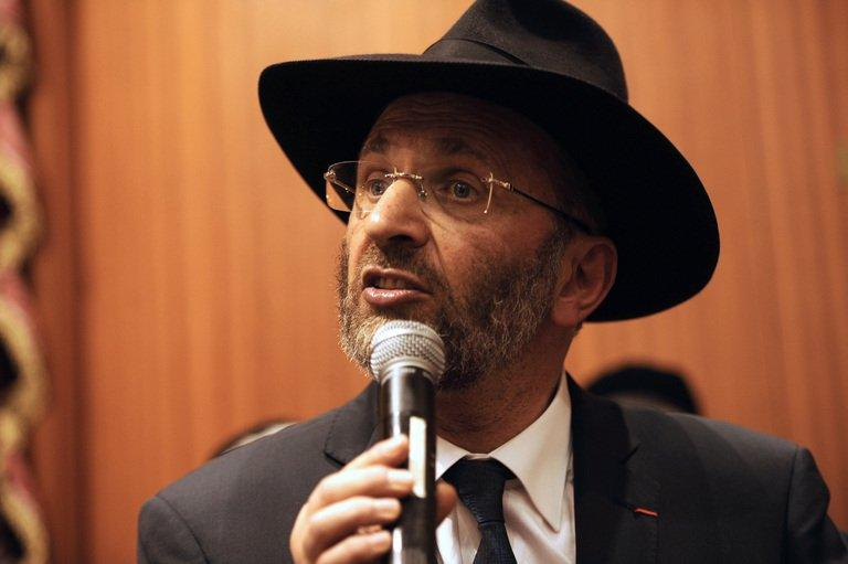 The Grand Rabbi of France Gilles Bernheim gives a speech on March 19, 2012 at a synagogue in Toulouse