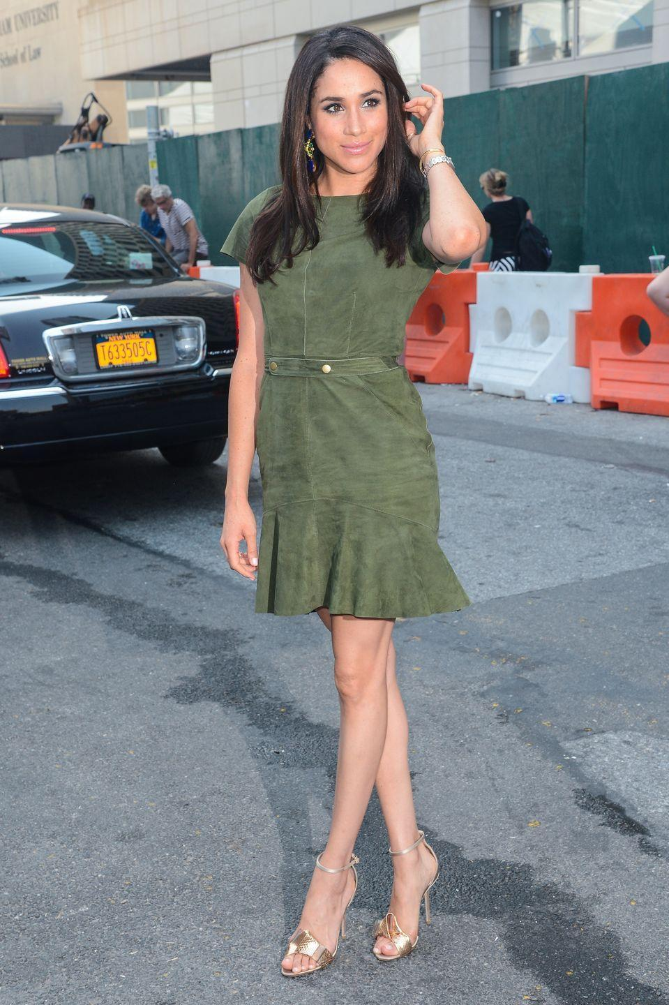 <p>In a olive green suede stunner at Fashion Week in New York City. </p>