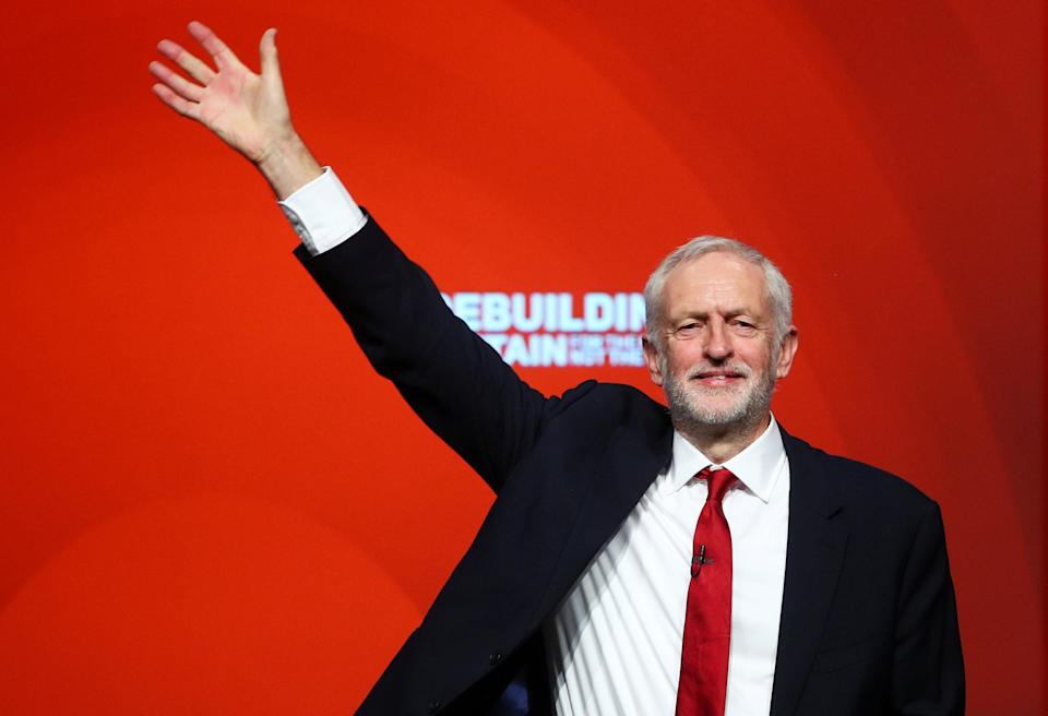 Labour Party leader Jeremy Corbyn reacts after delivering his speech at the party's conference in Liverpool.