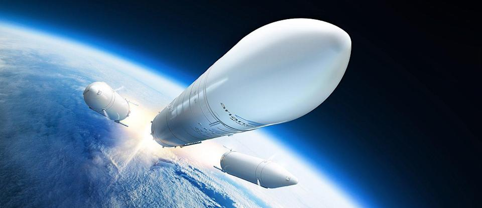 Artist's depiction of Ariane 6 rocket dropping boosters