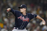 Atlanta Braves starting pitcher Max Fried works against a San Diego Padres batter during the second inning of a baseball game Friday, Sept. 24, 2021, in San Diego. (AP Photo/Gregory Bull)