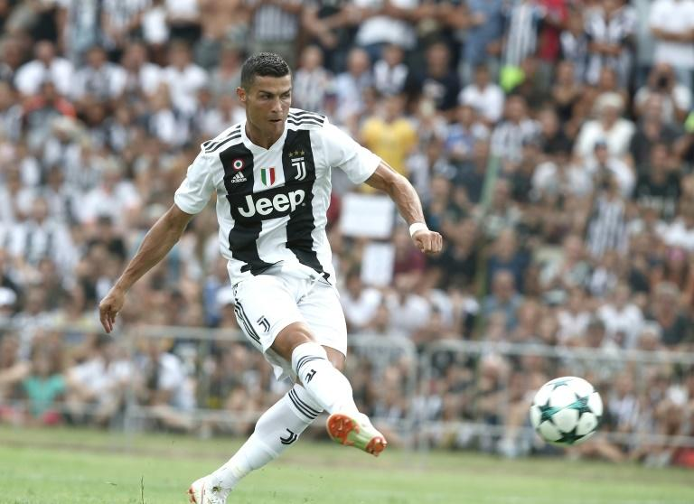 Cristiano Ronaldo makes his competitive debut for Juventus at the Allianz Stadium against Lazio
