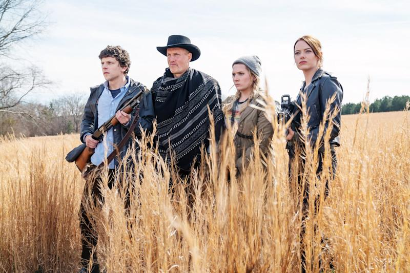 ZOMBIELAND: DOUBLE TAP, from left: Jesse Eisenberg, Woody Harrelson, Abigail Breslin, Emma Stone, 2019. ph: Jessica Miglio / Columbia Pictures / courtesy Everett Collection