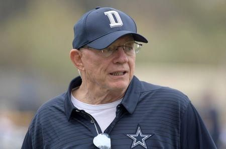 Jul 26, 2018; Oxnard, CA, USA; Dallas Cowboys owner Jerry Jones reacts during training camp at River Ridge Fields. Mandatory Credit: Kirby Lee-USA TODAY Sports
