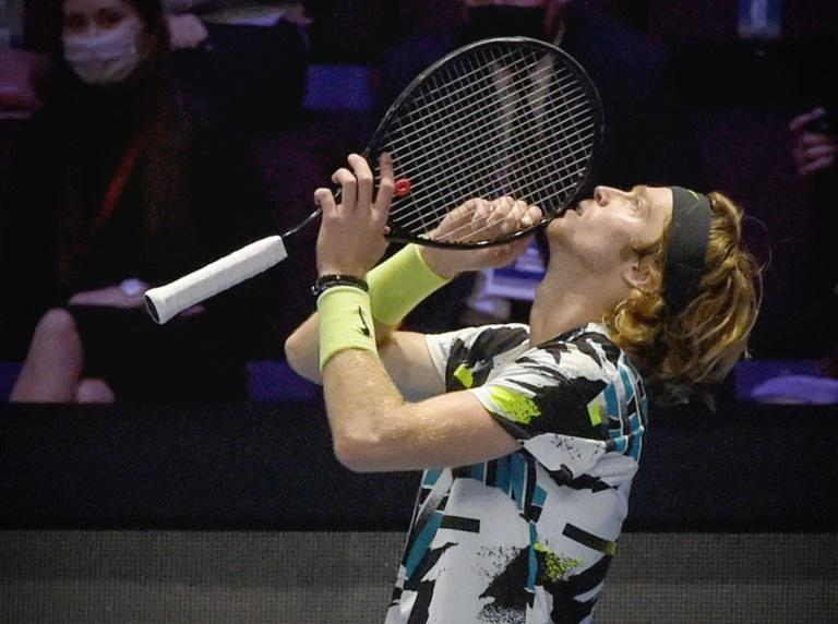 Winning feeling: Russia's Andrey Rublev celebrates after winning the St. Petersburg title earlier this month