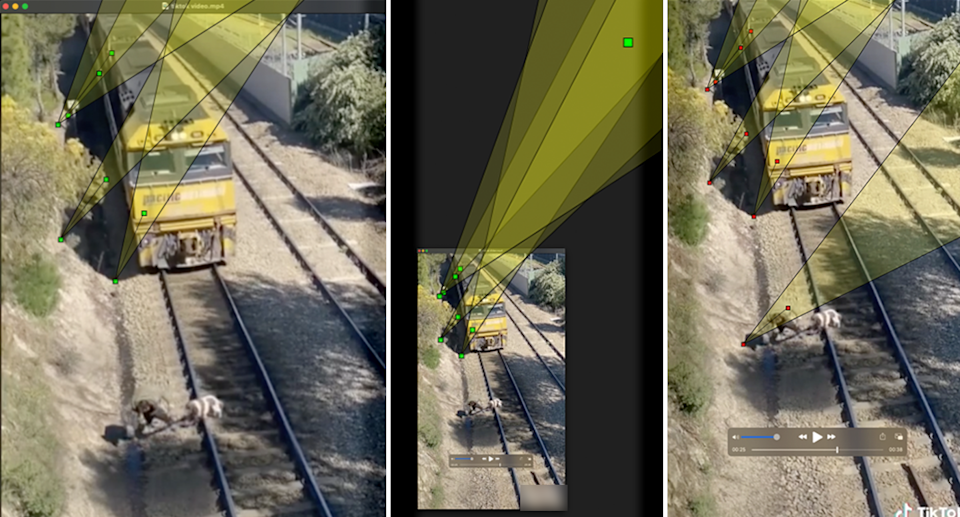 Three images showing analysis of the video using Hany Farid's software.