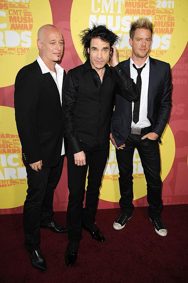 "Jimmy Stafford, Pat Monahan, and Scott Underwood of Train fame came clad in black. Unfortunately, Pat went a tad overboard with his use of hair product! Jeff Kravitz//<a href=""http://filmmagic.com/"" target=""new"">FilmMagic.com</a> - June 8, 2011"