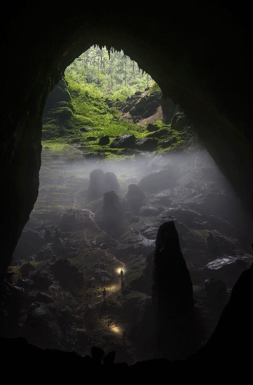 """Rural category winner: Chris Miller  """"Son Doong Cave, located deep in the Vietnamese jungle, is the world's biggest cave and was only explored for the first time in 2009. It's so big it has its own weather system and a Boeing 747 could fly through its largest cavern. This photo shows some members of our party in Phong Nha-Ke Bang National Park starting the climb up one of the two dolines (sinkholes), which are prominent features inside Son Doong Cave. The vegetation seen here fell inside the cave when the roof collapsed (the jungle floor is around 150 metres further above). Two-way radios and a laser pointer were used to get people in position for this photo and ensure their headlamps provided just the right amount of illumination."""""""
