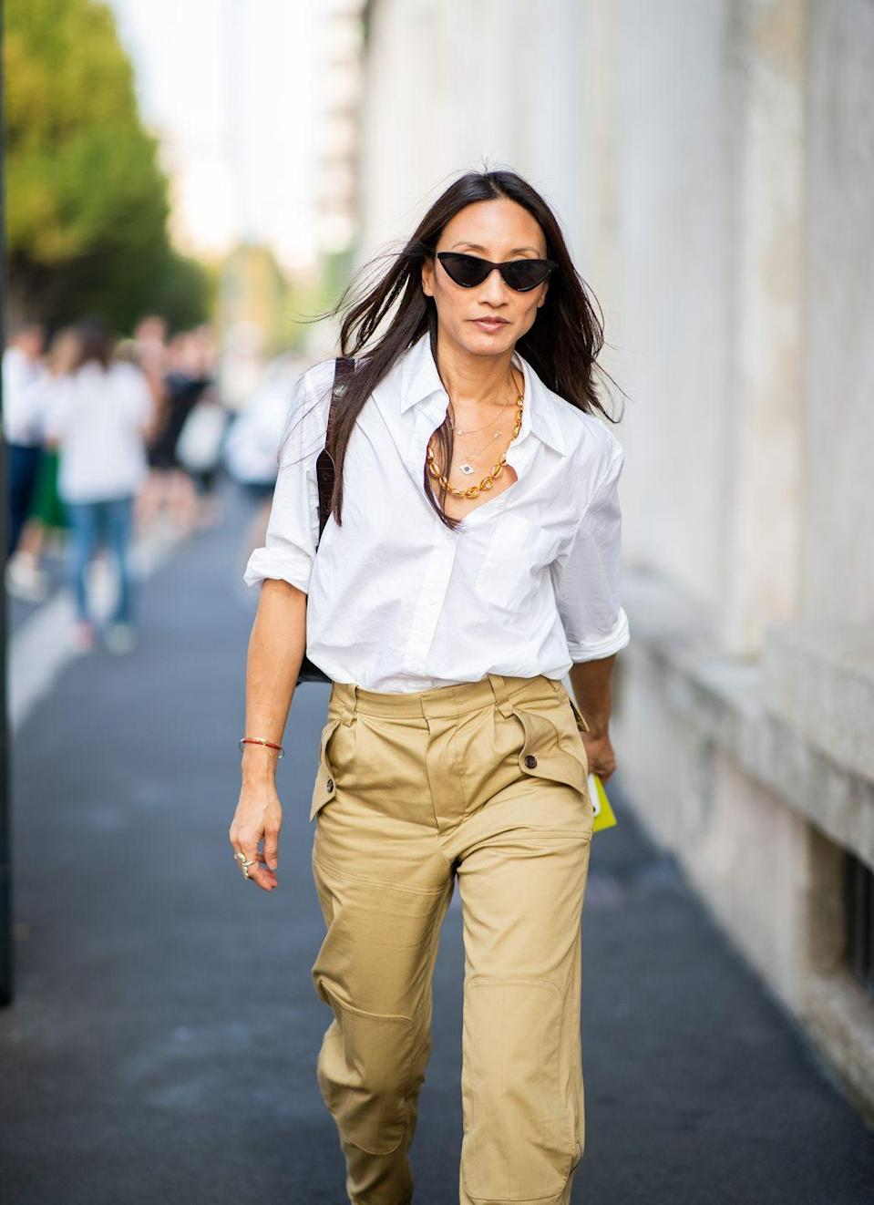 <p>A white button-down can be worn in a million different ways. This simple yet chic item is a minimalist must-have.</p>