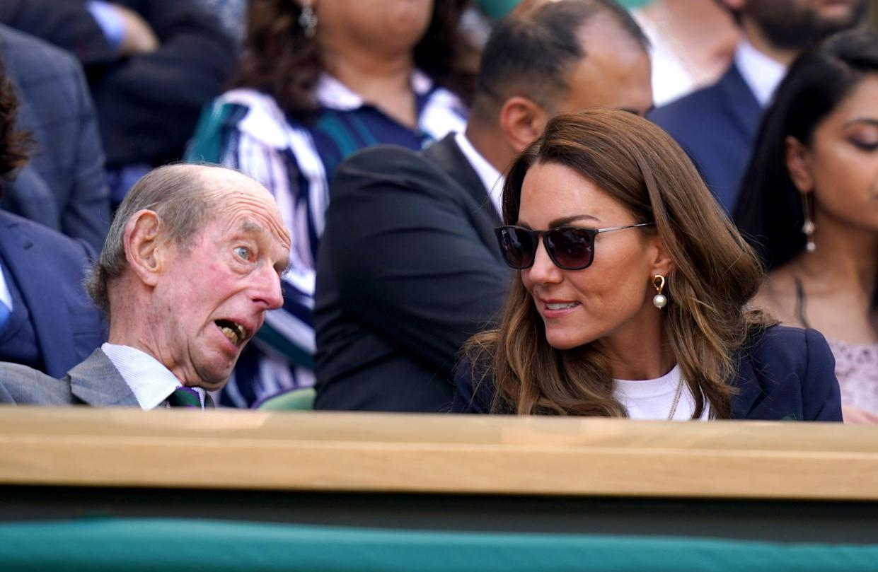 The Duke of Kent and the Duchess of Cambridge in the royal box on day five of Wimbledon at The All England Lawn Tennis and Croquet Club, Wimbledon. Picture date: Friday July 2, 2021. (Photo by Adam Davy/PA Images via Getty Images)