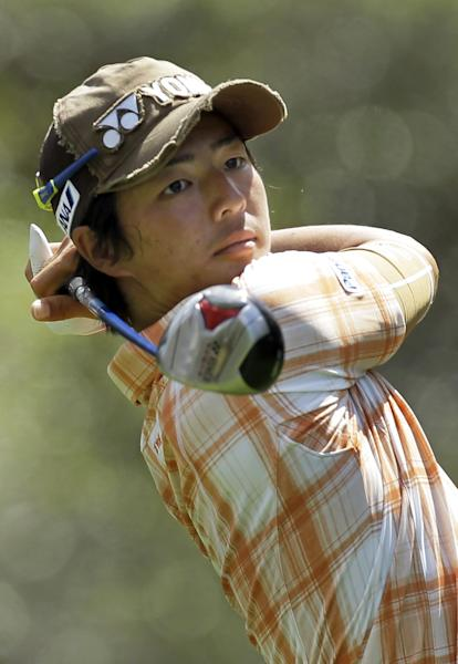 Ryo Ishikawa, of Japan, hits his tee shot on the ninth hole during the second round of the Transitions golf tournament Friday, March 16, 2012, in Palm Harbor, Fla. (AP Photo/Chris O'Meara)
