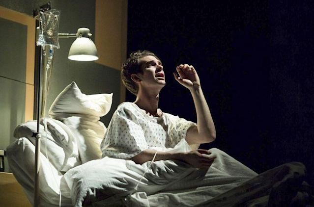 Andrew Garfield onstage in <em>Angels in America</em> in London. (Photo: Helen Maybanks/National Theatre/AP) <br>