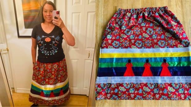 Jamie Metallic, Mi'kmaw from Listuguj, Que., was one of the several Indigenous youth to participate in the ribbon skirt making workshop.