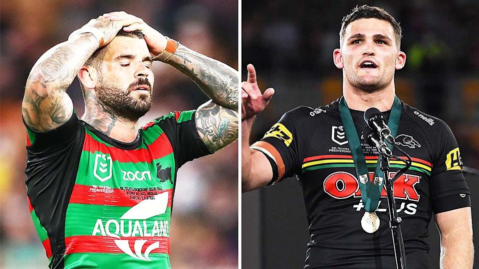 Ivan Cleary (pictured right) during a speech and (pictured left) Adam Reynolds looking gutted.
