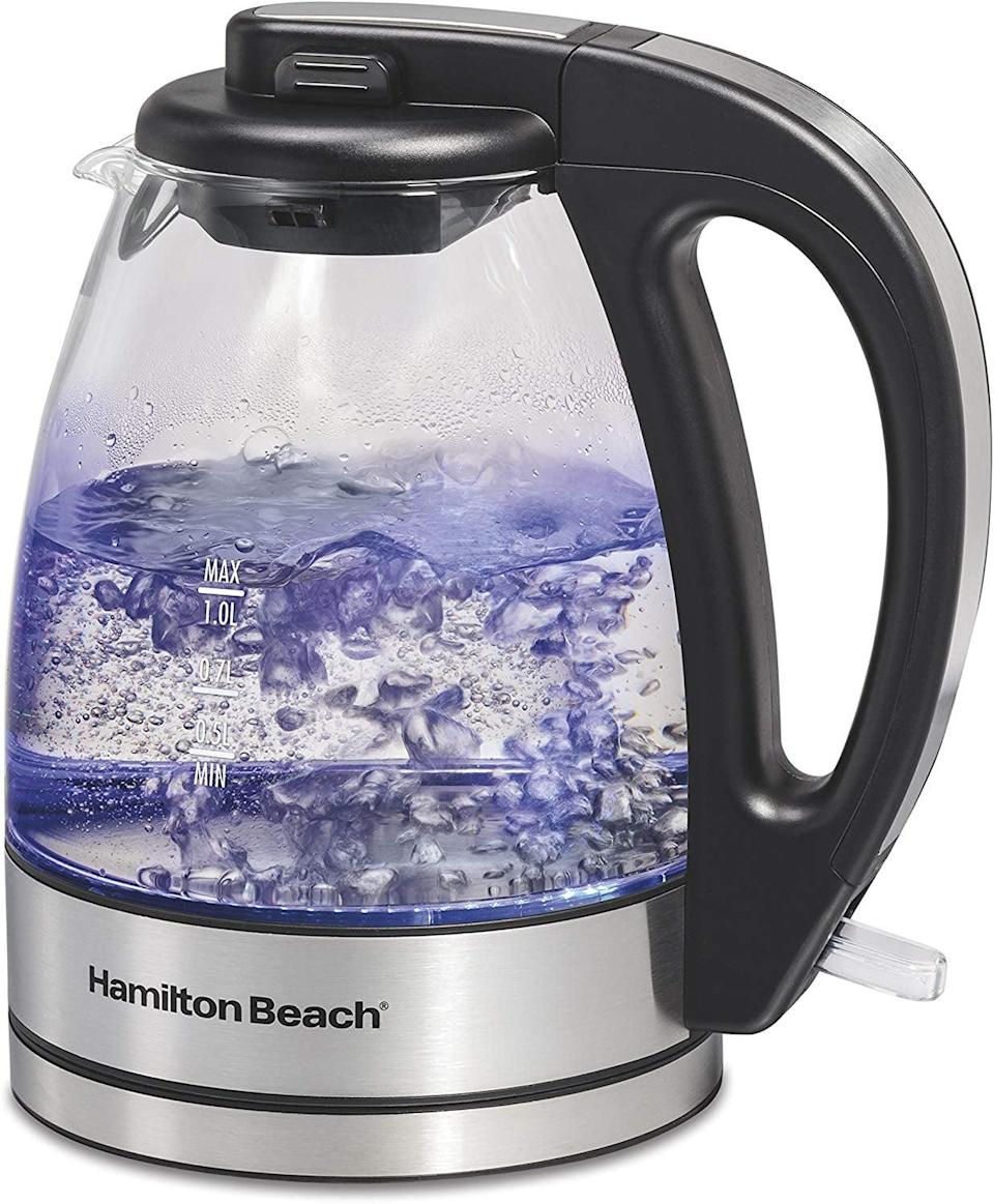 <p>Heat up water faster than ever with this smart <span>Hamilton Beach 1 Liter Glass Electric Kettle</span> ($32).</p>