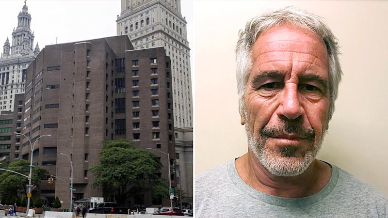 Pictured left is the New York jail where Jeffrey Epstein (pictured right) was held and later found dead. Source: AAP