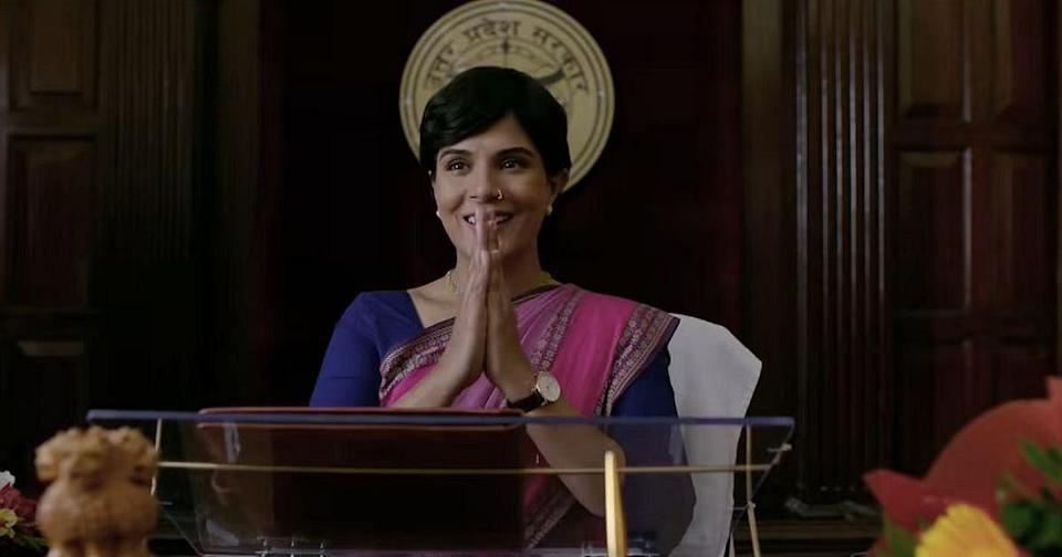 Richa Chadha in a still from <i>Madam Chief Minister</i>.