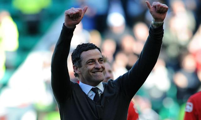 Jack Ross celebrates winning promotion to the Scottish Premiership with St Mirren earlier this month.