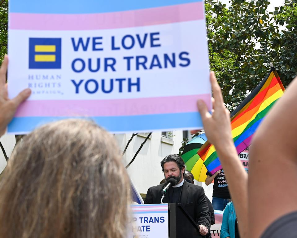 Protesters rally against anti-transgender legislation on March 30, 2021, in Montgomery, Alabama.