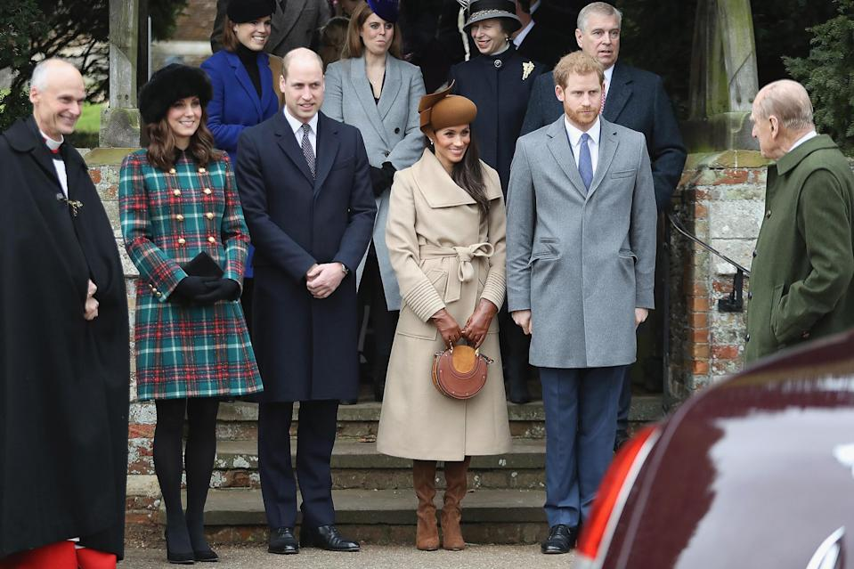 "<p>For Meghan Markle's first Christmas as the Duchess of Sussex (seen here alongside Princess Kate, Prince William and Prince Harry) she wore head-to-toe tan — and <a href=""https://people.com/royals/meghan-markle-christmas-walk-kate-middleton-prince-harry/"" rel=""nofollow noopener"" target=""_blank"" data-ylk=""slk:dropped her first public curtsy"" class=""link rapid-noclick-resp"">dropped her first public curtsy</a>. </p>"