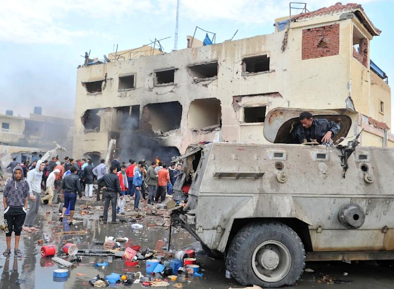 Egyptian security forces are often the target of terror attacks in Sinai, such as this police station in El-Arish after it was destroyed by a car bomb on April 12, 2015