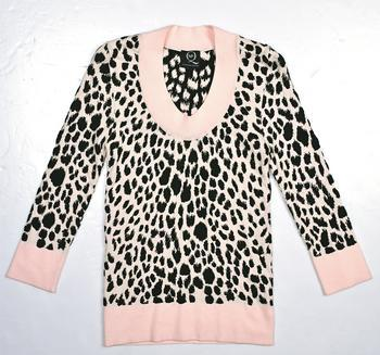 McQ pink leopard printed knit top $3,499