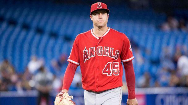 PHOTO: Los Angeles Angels starting pitcher Tyler Skaggs (45) walks towards the dugout after being relieved during the eighth inning against the Toronto Blue Jays at Rogers Centre in Toronto, Canada, June 18, 2019. (Nick Turchiaro/USA TODAY Sports)