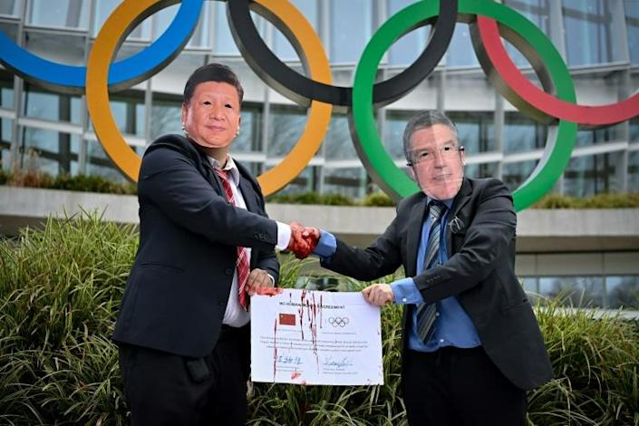 International Tibet Network activists staged a protest this week at the IOC headquarters in Lausanne