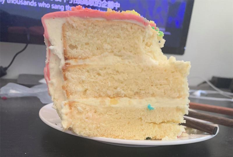 A Brisbane mum claims a perfectly intact piece of Coles sponge cake remained mould-free two months after it was purchased. Source: Brittnee Rose