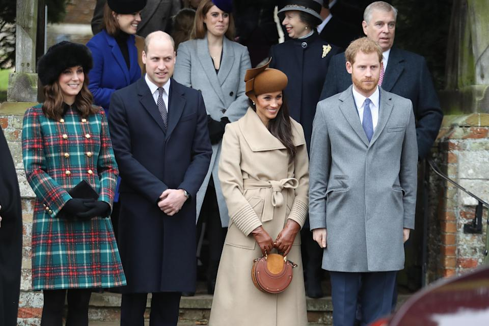 Kate, William, Meghan and Harry at the Christmas Day church service in 2017 [Photo: Getty]