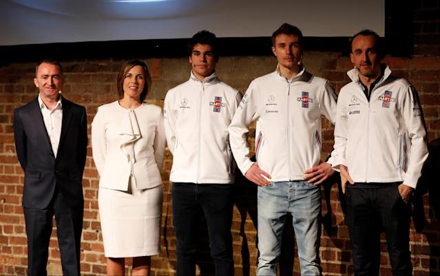 F1 Formula One - Williams Formula One Launch - London, Britain - February 15, 2018 Williams' Chief Technical Officer Paddy Lowe, Deputy Team Principal Claire Williams, Driver Lance Stroll, Driver Sergey Sirotkin and Reserve and Development Driver Robert Kubica Action Images via Reuters/Paul Childs