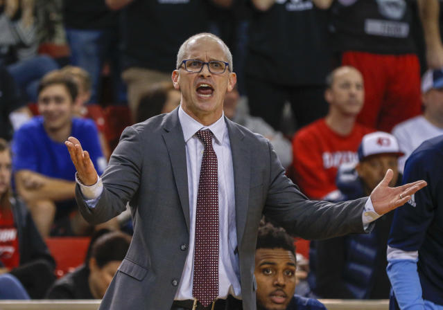 Rhode Island coach Dan Hurley argues a call as his team plays Davidson on Sunday. (AP)