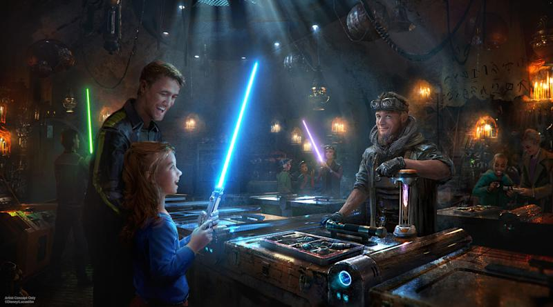 Concept art for the lightsaber-building store.