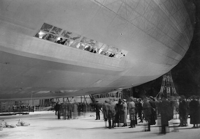 <p>The Hindenburg, Zeppelin LZ-129, being taken out of its hangar at Friedrichshafen before leaving for New Jersey on August 9, 1936. (Fox Photos/Getty Images) </p>
