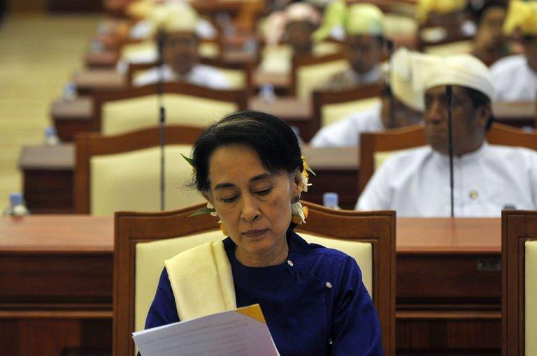 Myanmar's opposition leader Aung San Suu Kyi attends a session of the lower house of the parliament, March 6, 2013