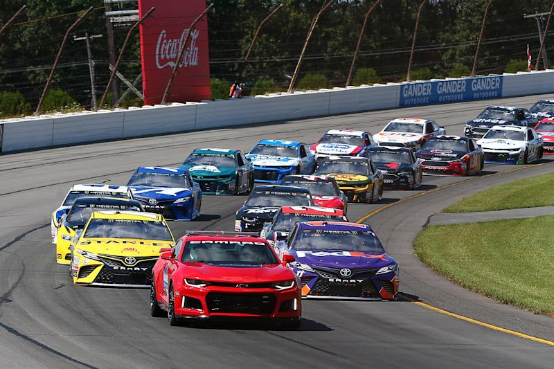 LONG POND, PA - JULY 28: A general view of the Pace Car leading the field prior to the Monster Energy NASCAR Cup Series - 45th Annual Gander Outdoors 400 on July 29, 2018 at Pocono Raceway in Long Pond, PA. (Photo by Rich Graessle/Icon Sportswire via Getty Images)