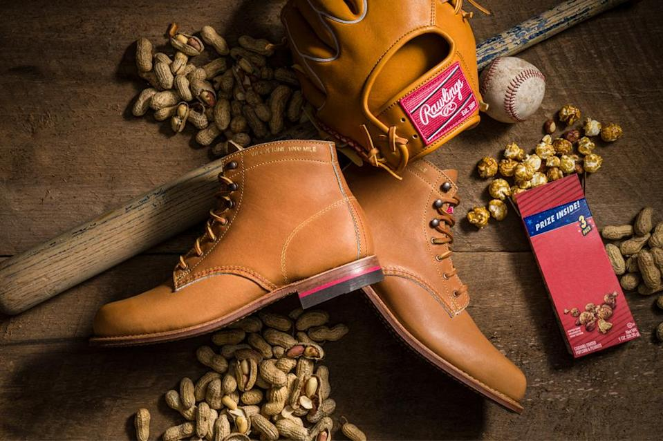 The Rawlings x Wolverine 1000 Mile boot is made from the same Horween leather as premium baseball gloves. - Credit: Courtesy of Wolverine