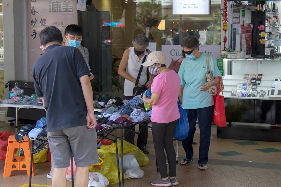 A vendor selling face masks seen at the Clementi Town Centre on 19 June 2020. (PHOTO: Dhany Osman / Yahoo News Singapore)
