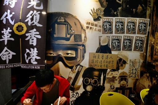 A man eats lunch at the Aegis, a Taipei restaurant started by a Hong Kong lawyer which helps Hongkongers who have left the city