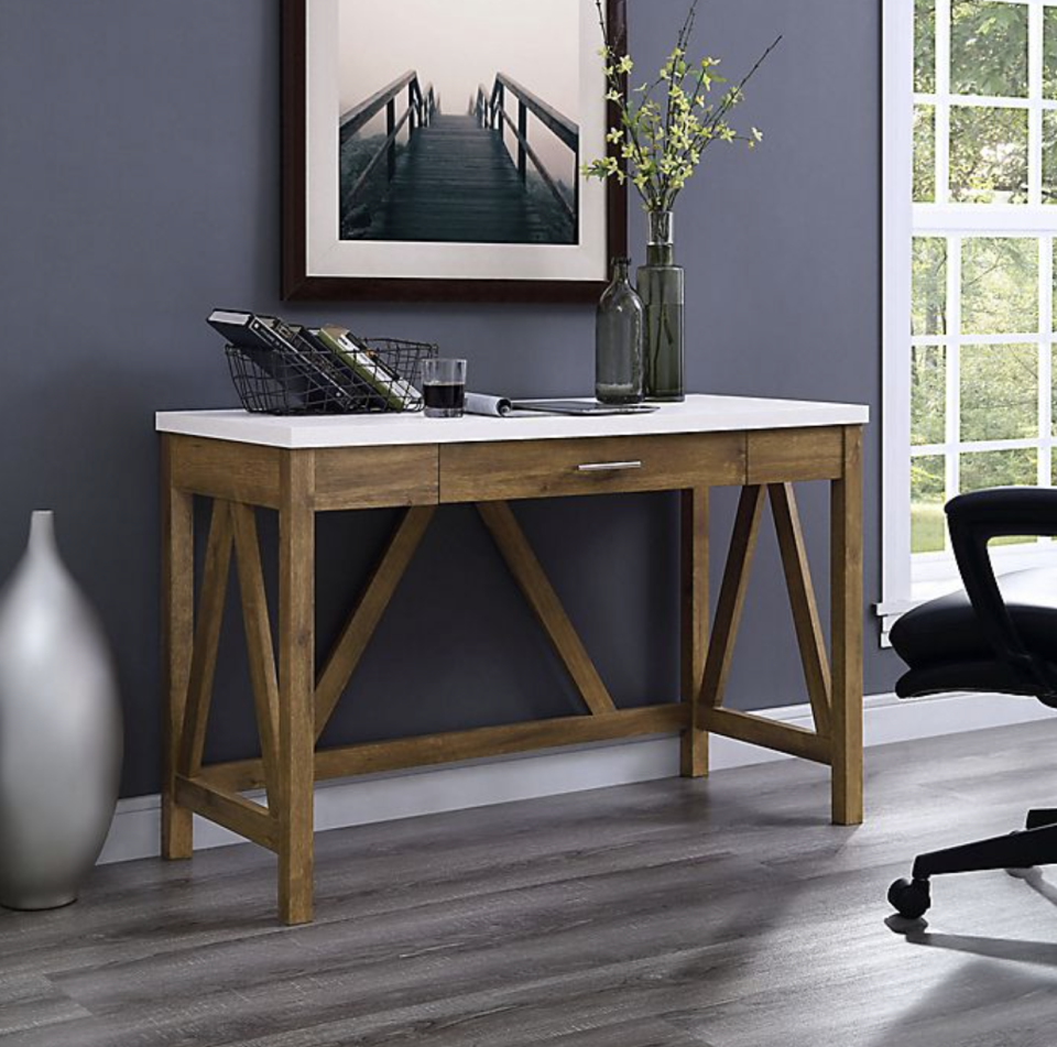 dark wood A-Frame Desk with Faux White Marble Top again navy grey wall