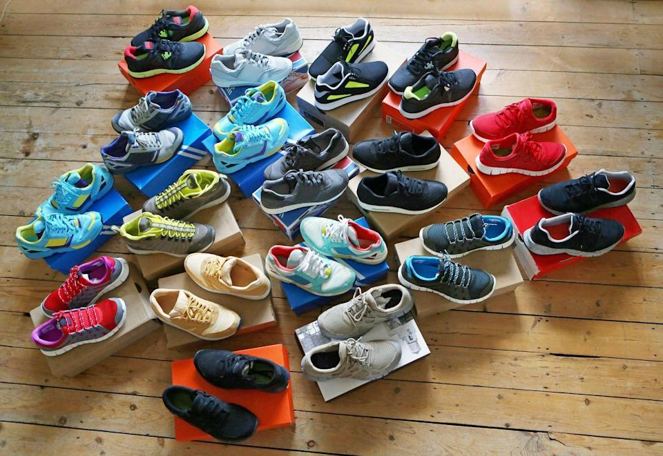 """<p>Time to order another shoe rack. Footwear is naturally the most important equipment for runners, and you've got to be well-stocked. If you don't have at least 10 pair of <a href=""""https://www.runnersworld.com/uk/gear/shoes/a776671/best-running-shoes/"""" rel=""""nofollow noopener"""" target=""""_blank"""" data-ylk=""""slk:running shoes"""" class=""""link rapid-noclick-resp"""">running shoes</a> sitting around, then what are you doing?</p>"""