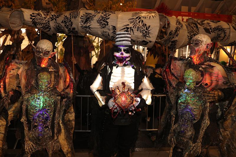 People wearing horror costumes participate in the Halloween Parade in New York City. (Photo: Gordon Donovan/Yahoo News)