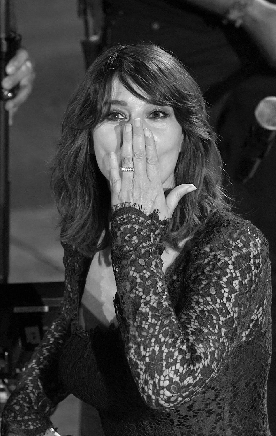 (EDITOR'S NOTE: Image was converted to black and white) Monica Bellucci attends the ceremony in memory of Ennio Morricone in the suggestive ancient theater of Taormina with the presentation of the film by Giuseppe Tornatore ''Devotion''. 66th Taorminafilmfest, Taormina (ME), Italy - July 18, 2020 (Photo by Gabriele Maricchiolo/NurPhoto via Getty Images)