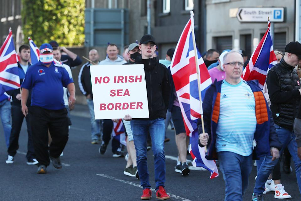A loyalist protest against the Northern Ireland protocol (PA Wire)